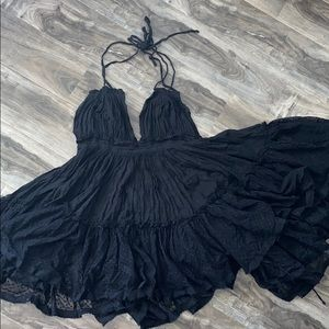 FREE PEOPLE 100 Degrees Mini Dress - BLACK
